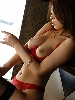 Lovely Asian lingerie model shows off her incredible tits hot pussy and firm ass
