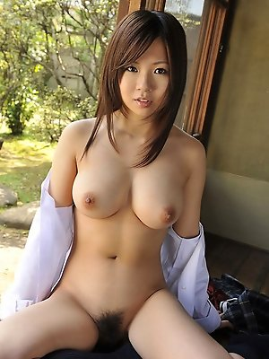 Konatsu Aozora Asian shows huge cans and hairy slit outdoor